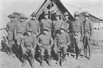 Officer Training, Camp Fremont, Calif., Aug. 17, 1918 Sitting: CPT William Hampton, MAJ (NG BG) Samuel I. Johnson, and CPT Lewis Abshire. Standing: 1LT Lewis T. Lyman, 1LT Robert D. King, 1LT Arthur C. Betts, 1LT Wilhelm A. Andersen, 1LT Eben S. Cushingham, 1LT Harry Brown, 1LT (NG CPT) Henry P. O'Sullivan and 2LT Oscar W. Gibson.
