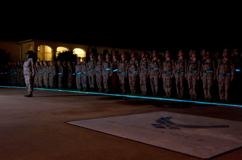 Total Force service members cross blue together