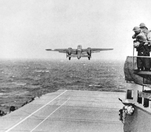 Taken from the deck of the U.S.S. Hornet (CU-8) of a B-25 bomber on its way to take part in the first U.S. air raid on Japan.