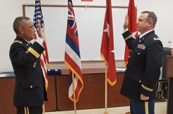 BG Tamashiro administers the oath of offcie to COL Lopina