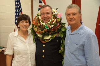 COL Lopina with COL(R) Rick and Linda Keller. He was a former Senior Judge Advocate at 25th Infantry Division (L). Linda was long time civilian garrison employee with U.S. Army, Hawaii.