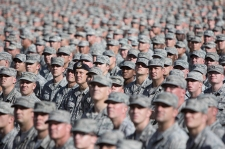Soldiers and Airmen from the Arizona National Guard assemble together in a mass formation during the Arizona National Guard Muster Dec. 7 at Arizona State University's Sun Devil Stadium in Tempe, Ariz.  More than 3800 Guard Members from throughout the state were present for the historic muster formation. (U.S. Army National Guard Photo by Staff Sgt. Brian A. Barbour)