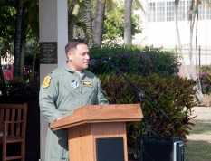 Lt. Col. Troy Cullen, commander, 154th Operational Support Squadron, addresses a crowd of family, friends and fellow airmen for the first time as 154 OSS commander, January 7, 2017, Joint Base Pearl Harbor-Hickam, Hawaii. Cullen assumed command from Lt. Col. Michael Blake. (U.S. Air National Guard photo by Staff Sgt. James Ro)