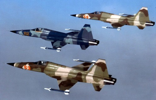 Formation of three aggressor F-5E aircraft of the 527th TFTS, RAF Alconbury, U.K., on Jan. 15, 1983. (U.S. Air Force photo)