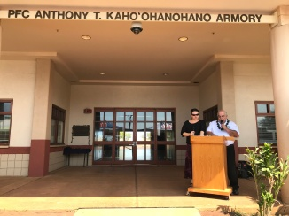 "The Hawaii Army National Guard armory in Puunene, Maui is now called the ""PFC Anthony T. Kahoohanohano"" armory. A memorialization ceremony was held on October 13, 2017 to change the name to a Maui hero who was awarded the Medal of Honor for his actions during the Korean War. The keynote speaker, nephew of Pfc. Kahoohanohano, George Kahoohanohano shared his family's military history, genealogy and gratitude with attendees."